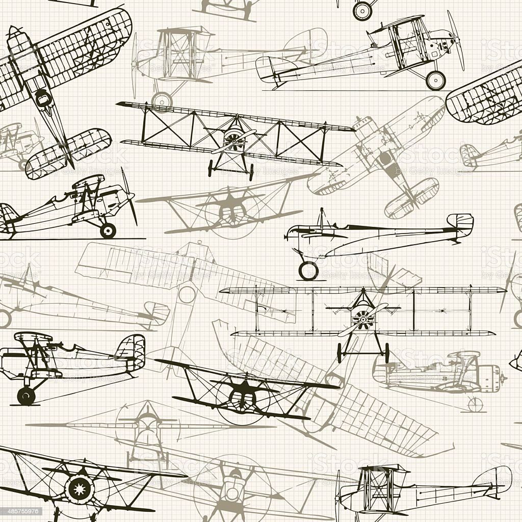 Vintage  seamless background. Stylized airplane illustration composition. t vector art illustration