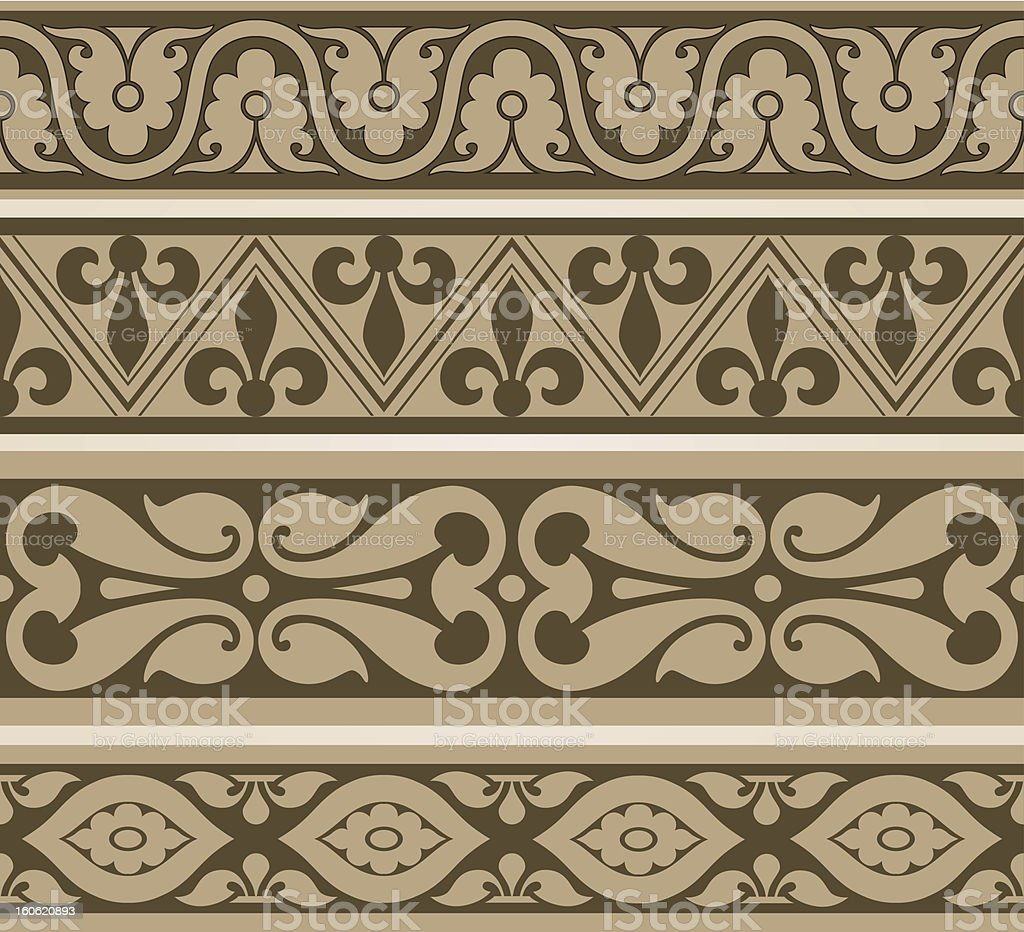 Vintage seamless border set. Vector. royalty-free stock vector art
