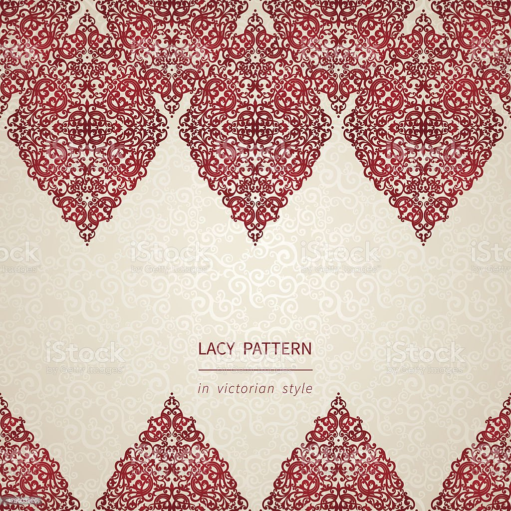 Vintage seamless border with lacy ornament vector art illustration