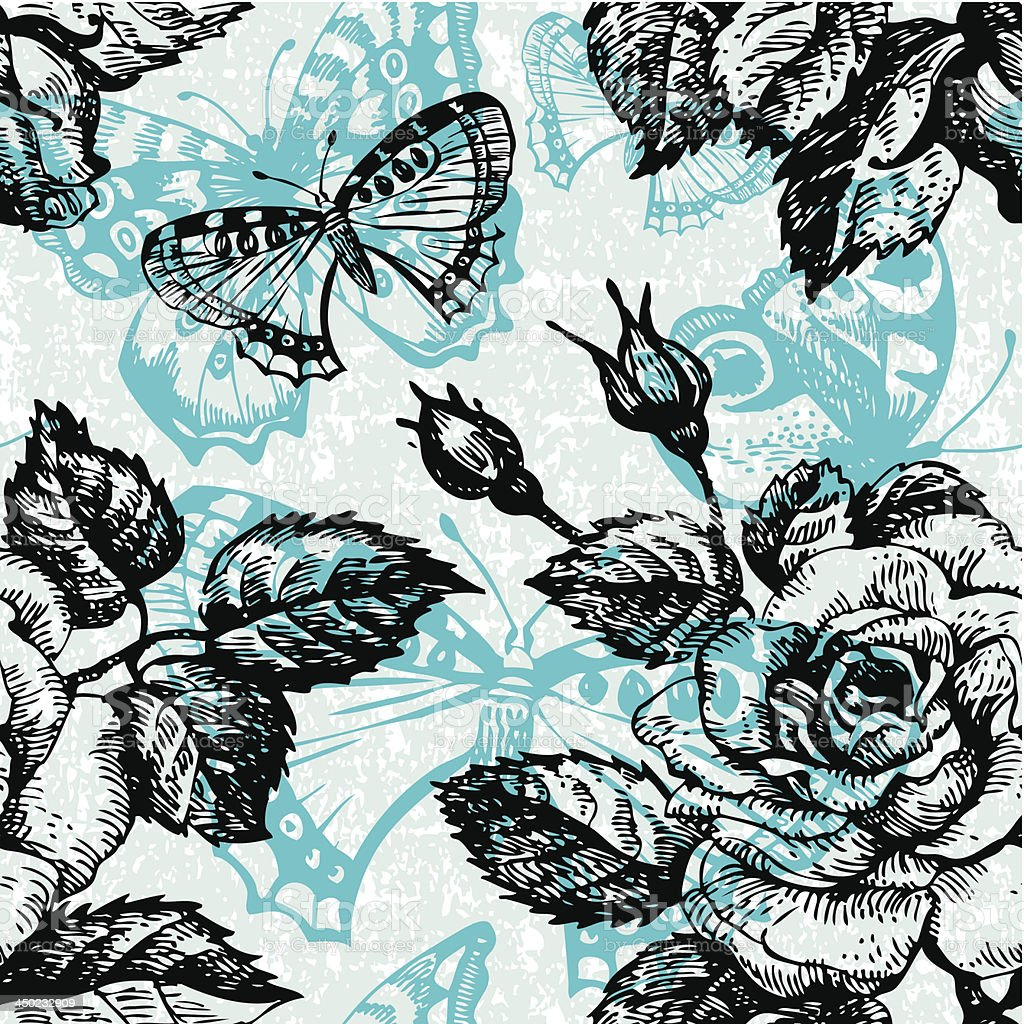 Vintage seamless floral pattern royalty-free stock vector art