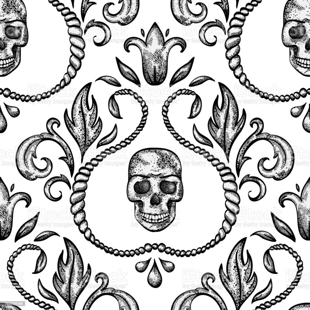 Vintage seamless ornament with skull royalty-free stock vector art