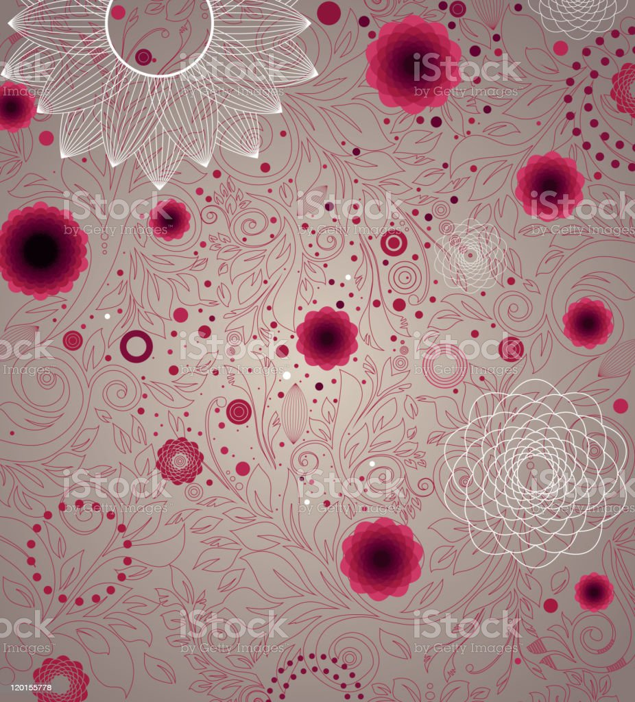 Vintage Seamless Pattern with abstract geometrical flowers. royalty-free stock vector art