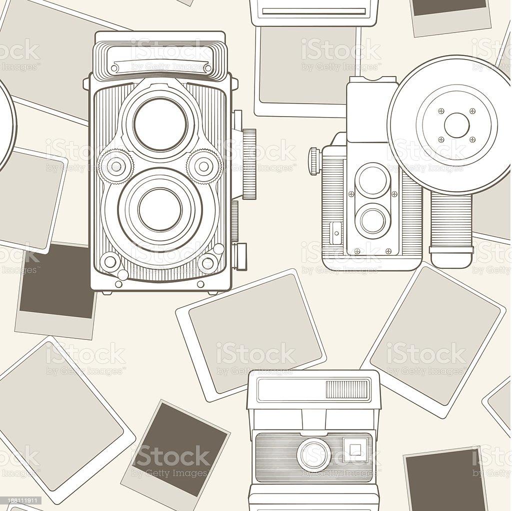 vintage sem costura padrão com câmera vetor e ilustração royalty-free royalty-free