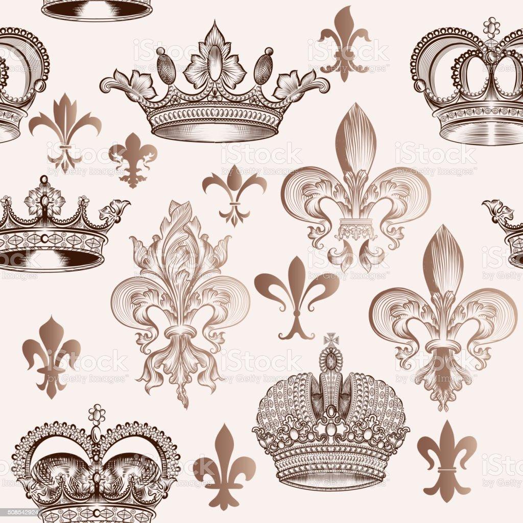 Vintage seamless pattern with crowns and fleur de lis vector art illustration