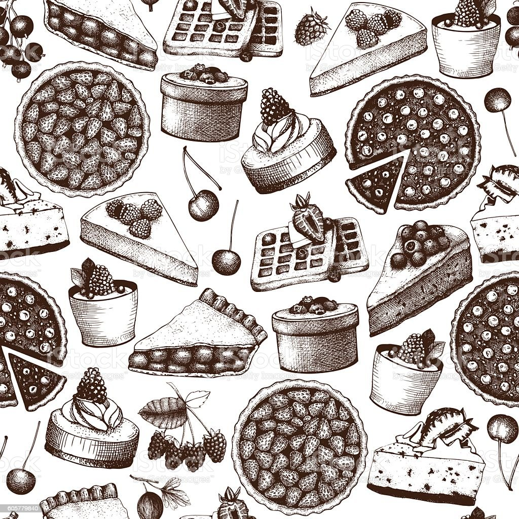 Vintage seamless pattern with decorative berries dessert sketch. vector art illustration