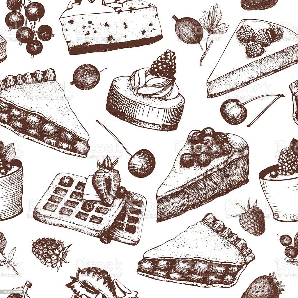 Vintage seamless pattern with decorative berries dessert sketch. vector art illustration
