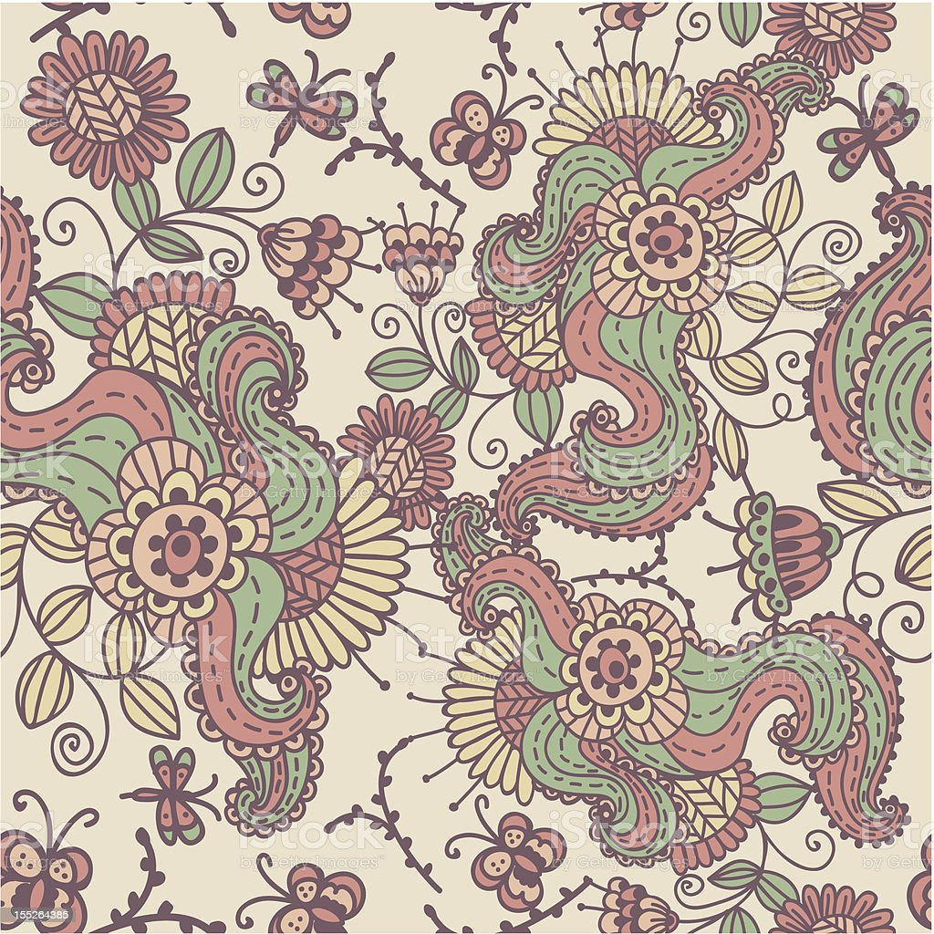 vintage seamless pattern with flowers royalty-free stock vector art
