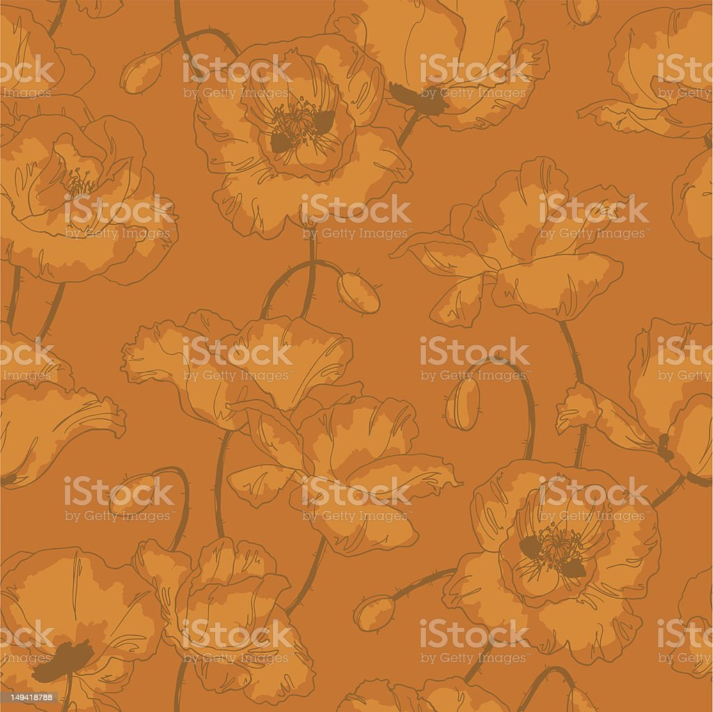 Vintage seamless pattern with poppy flowers royalty-free stock vector art