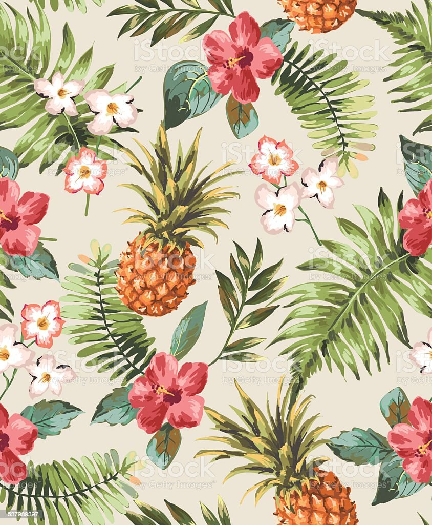 vintage seamless tropical flowers with pineapple vector pattern background vector art illustration