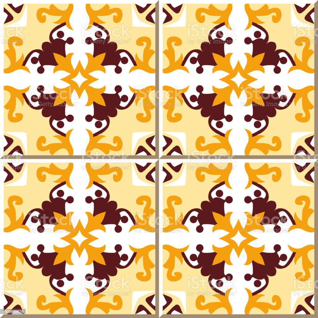 Vintage Seamless Wall Tiles Of Yellow Flower Vine Moroccan ...