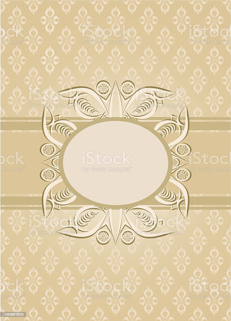 Vintage seamless wallpaper with a ribbon and frame royalty-free stock vector art