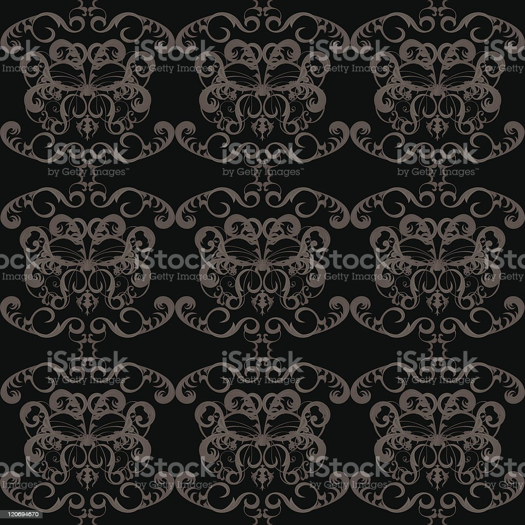 Vintage seamless wallpaper with floral pattern on black background royalty-free stock vector art