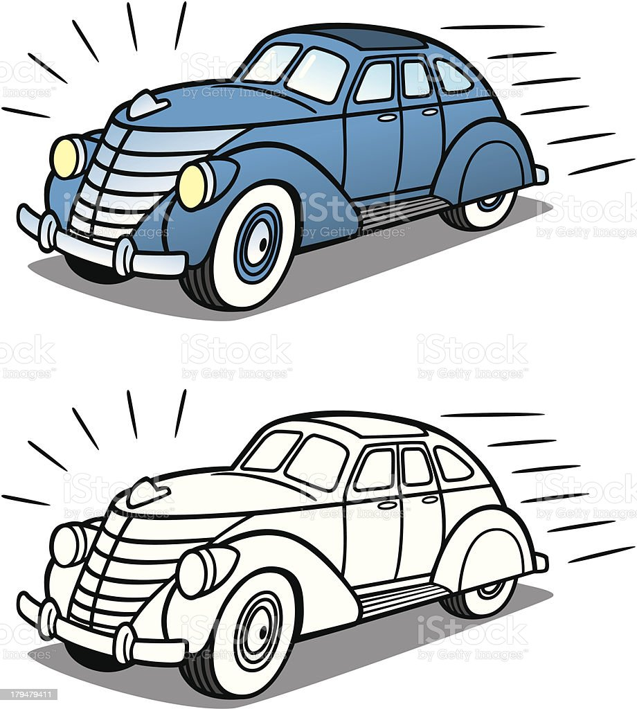 Vintage Sedan Car Driving royalty-free stock vector art