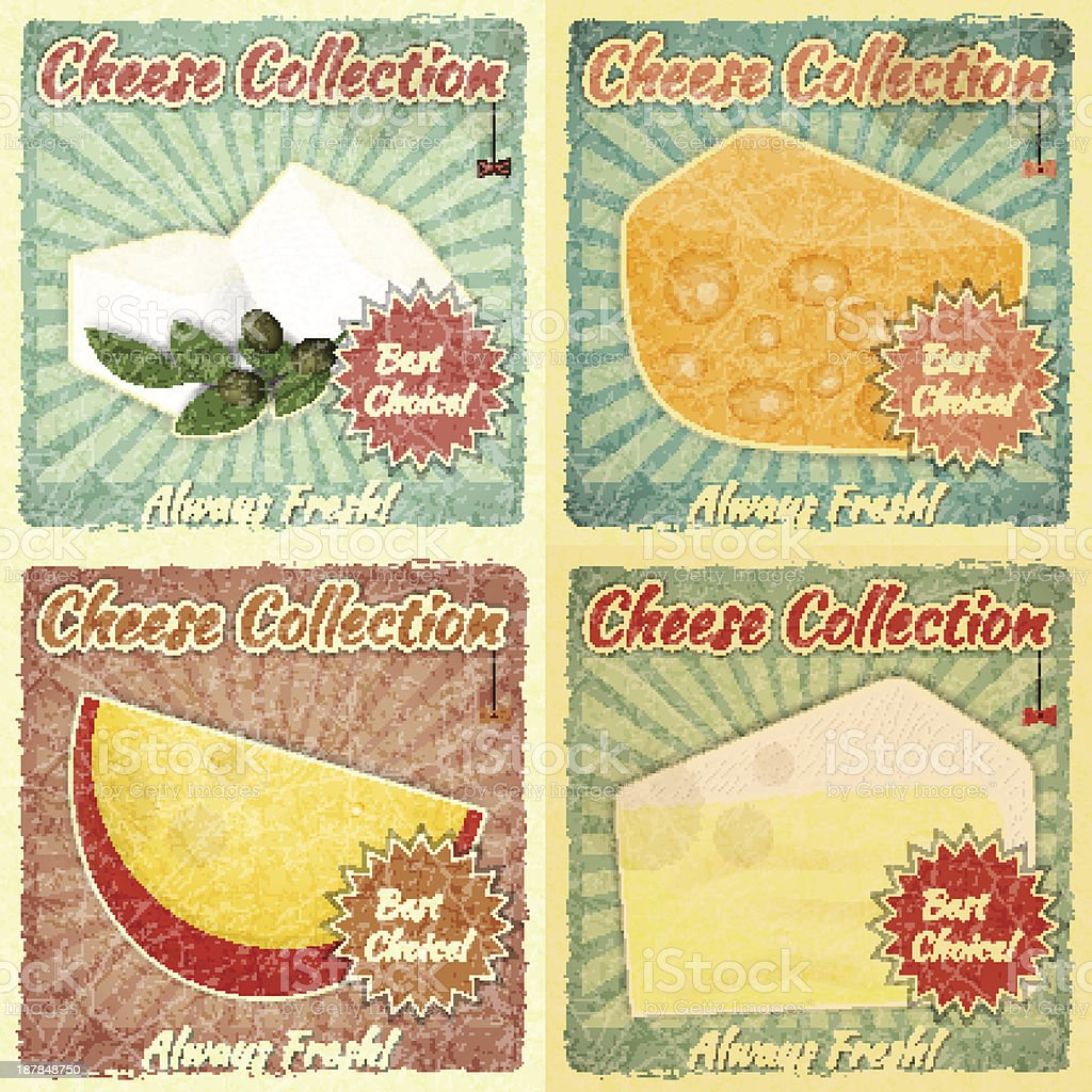 Vintage Set of Cheese Labels royalty-free stock vector art