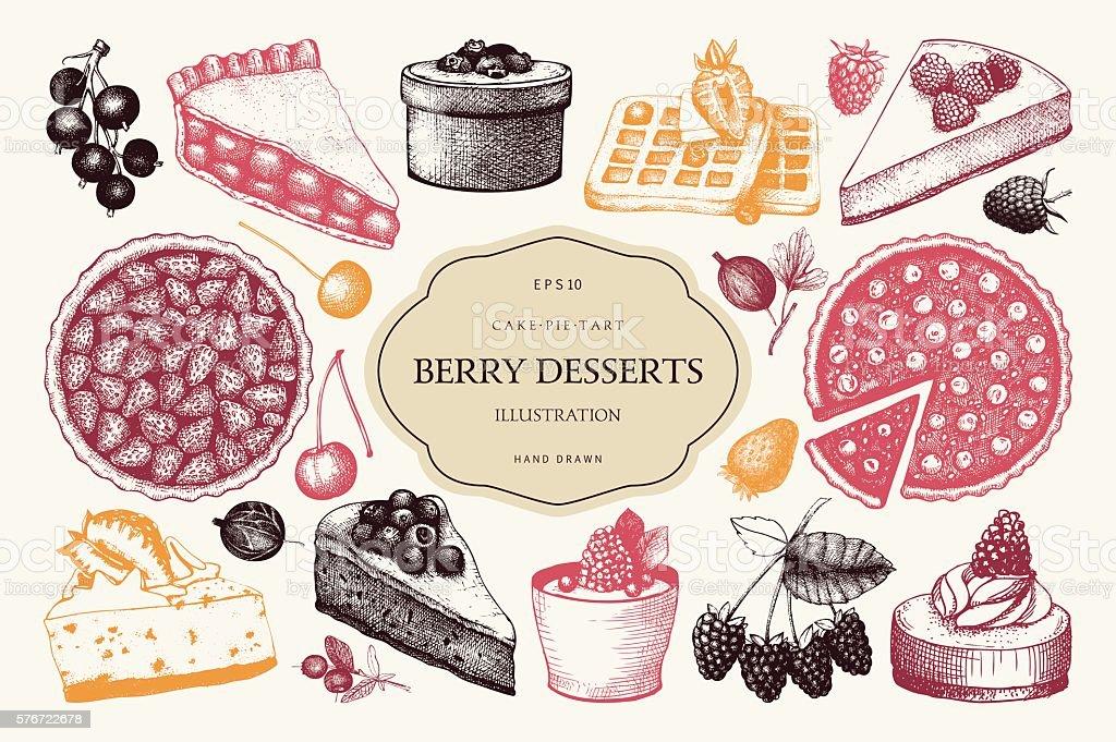 Vintage set of decorative berries dessert sketch vector art illustration