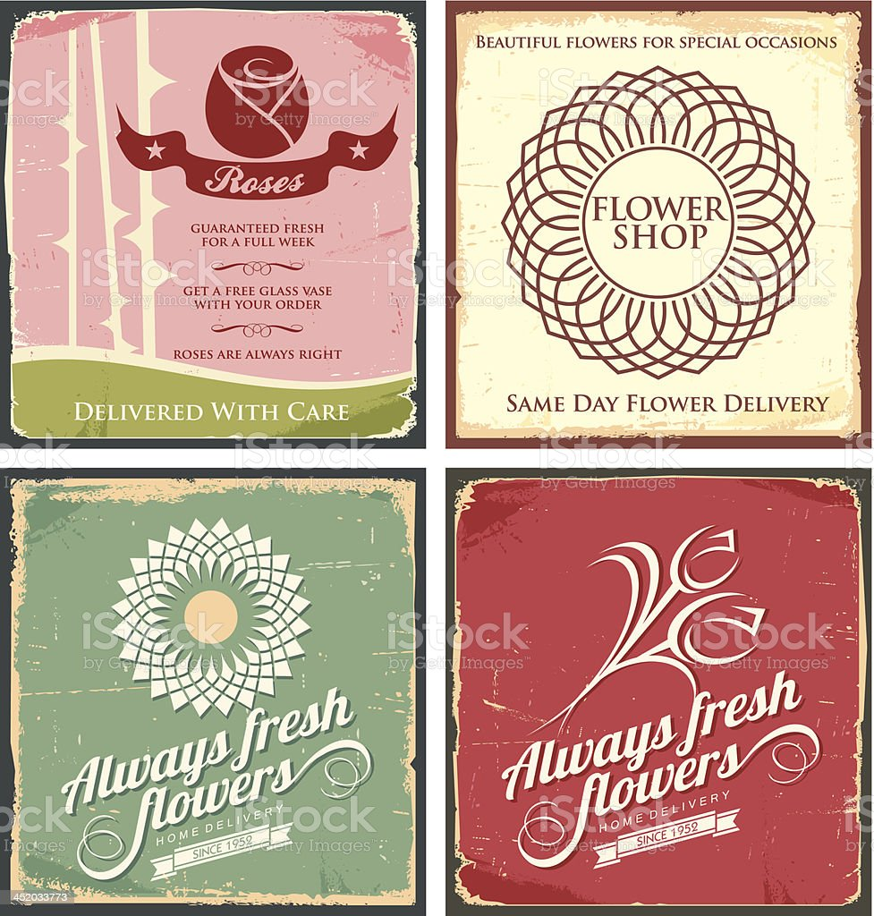 Vintage set of metal tin signs for flower shop royalty-free stock vector art