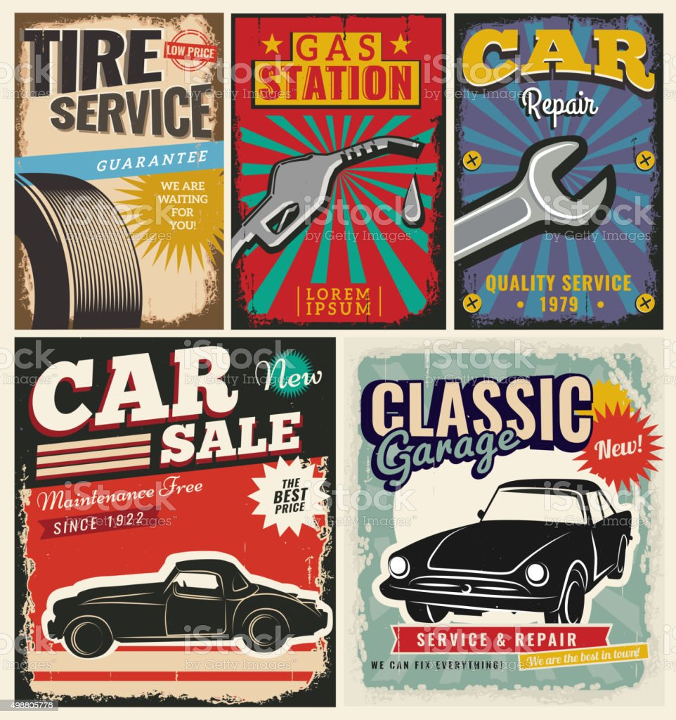 Vintage set of vector cars for advertising vector art illustration