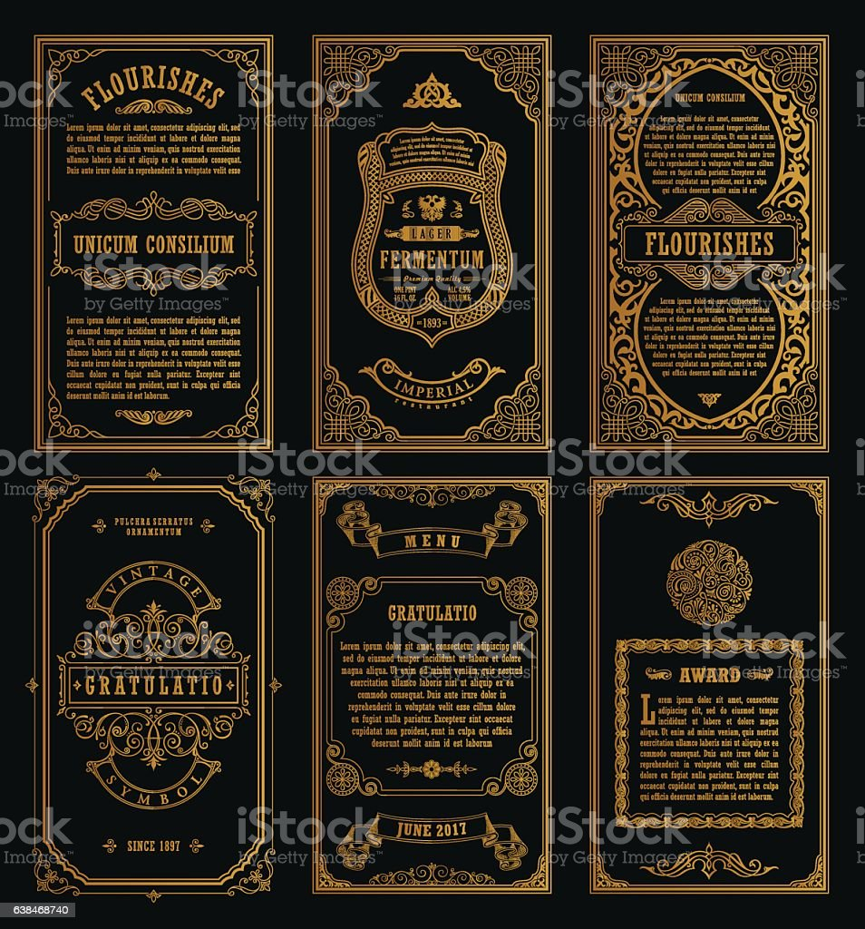 Vintage set retro cards. Template greeting card wedding invitation. Line vector art illustration