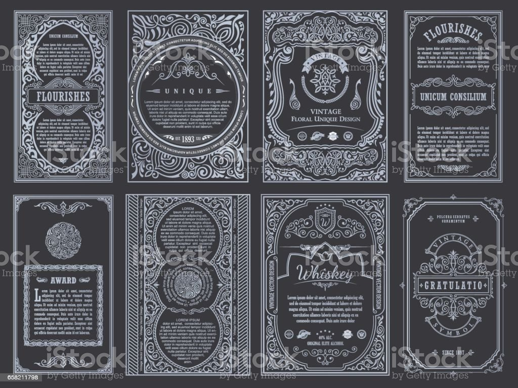 Vintage set retro cards. Template greeting card wedding invitation. Line calligraphic frames vector art illustration