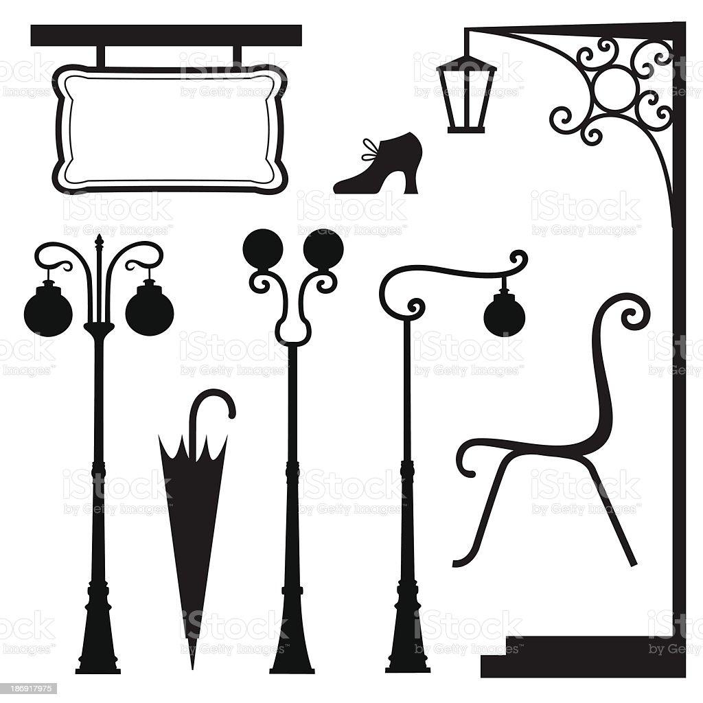 vintage set vector art illustration