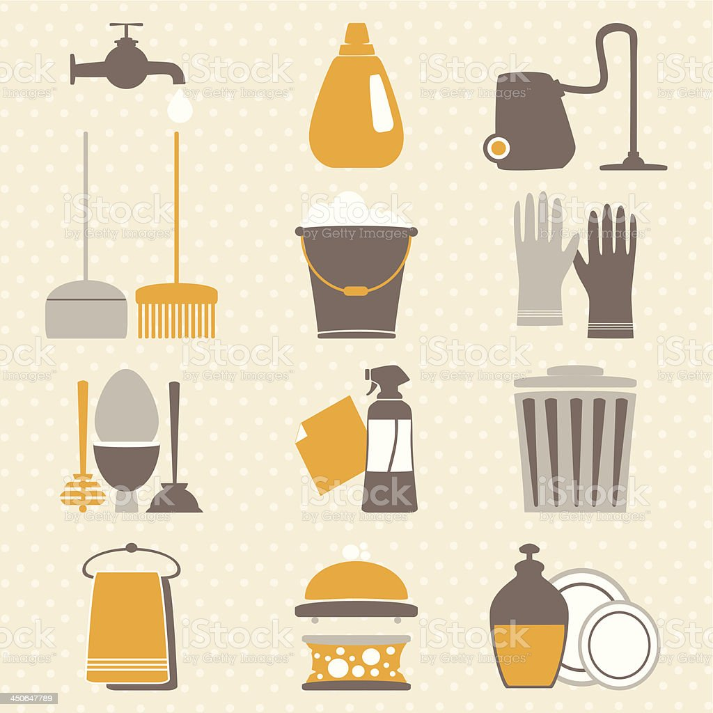 Vintage set with decorative hygiene icons. Vector illustration. royalty-free stock vector art