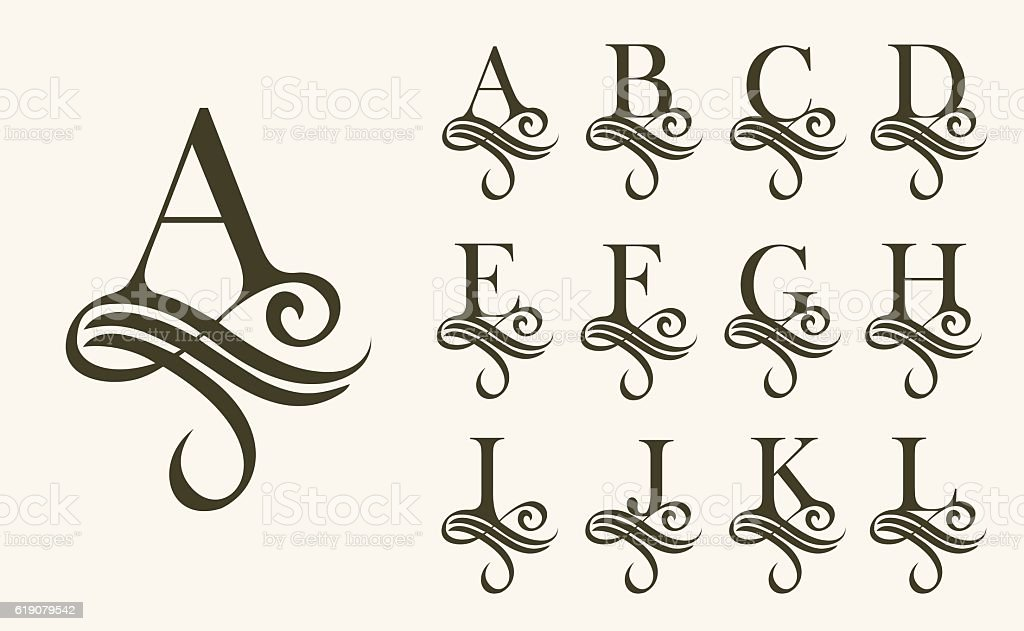 Vintage Set1 . Capital Letter for Monograms and Logos. Beautiful Filigree vector art illustration