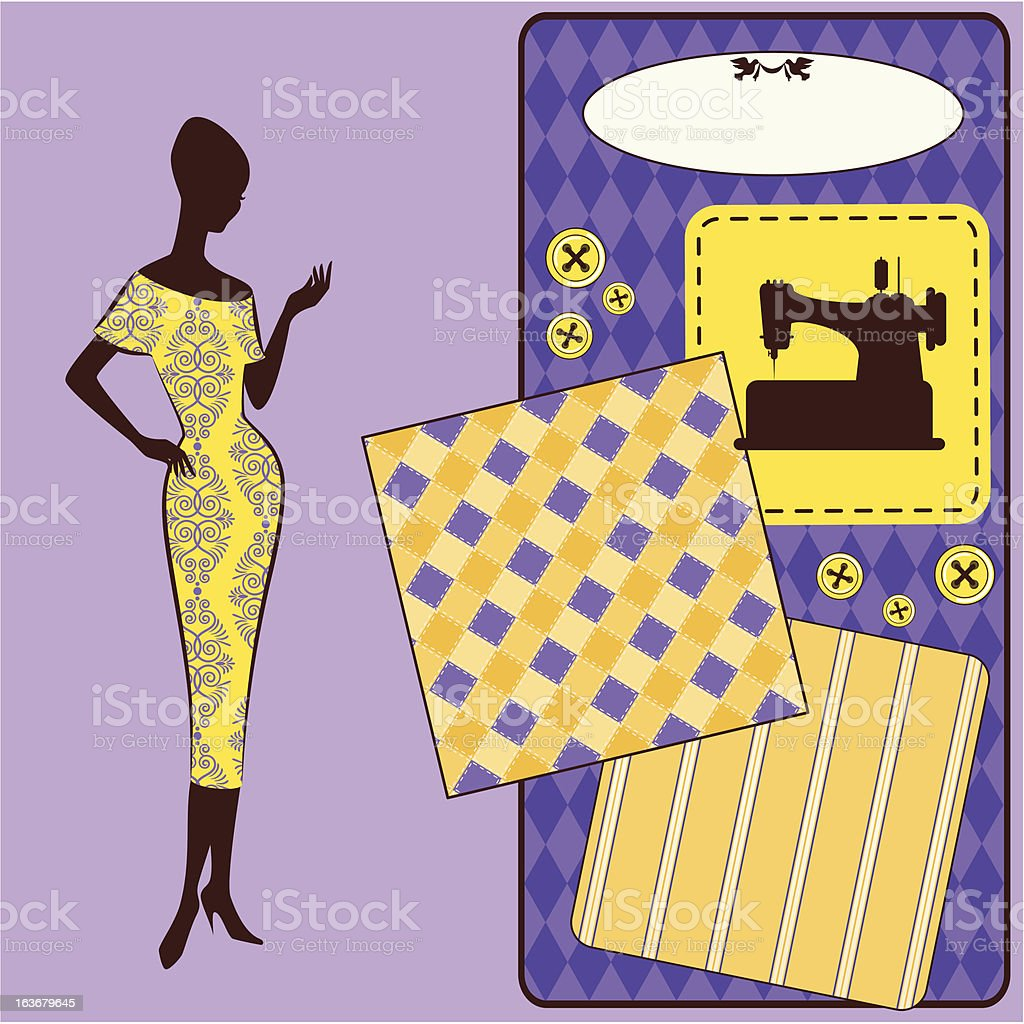 Vintage sewing elements with woman's silhouette royalty-free stock vector art