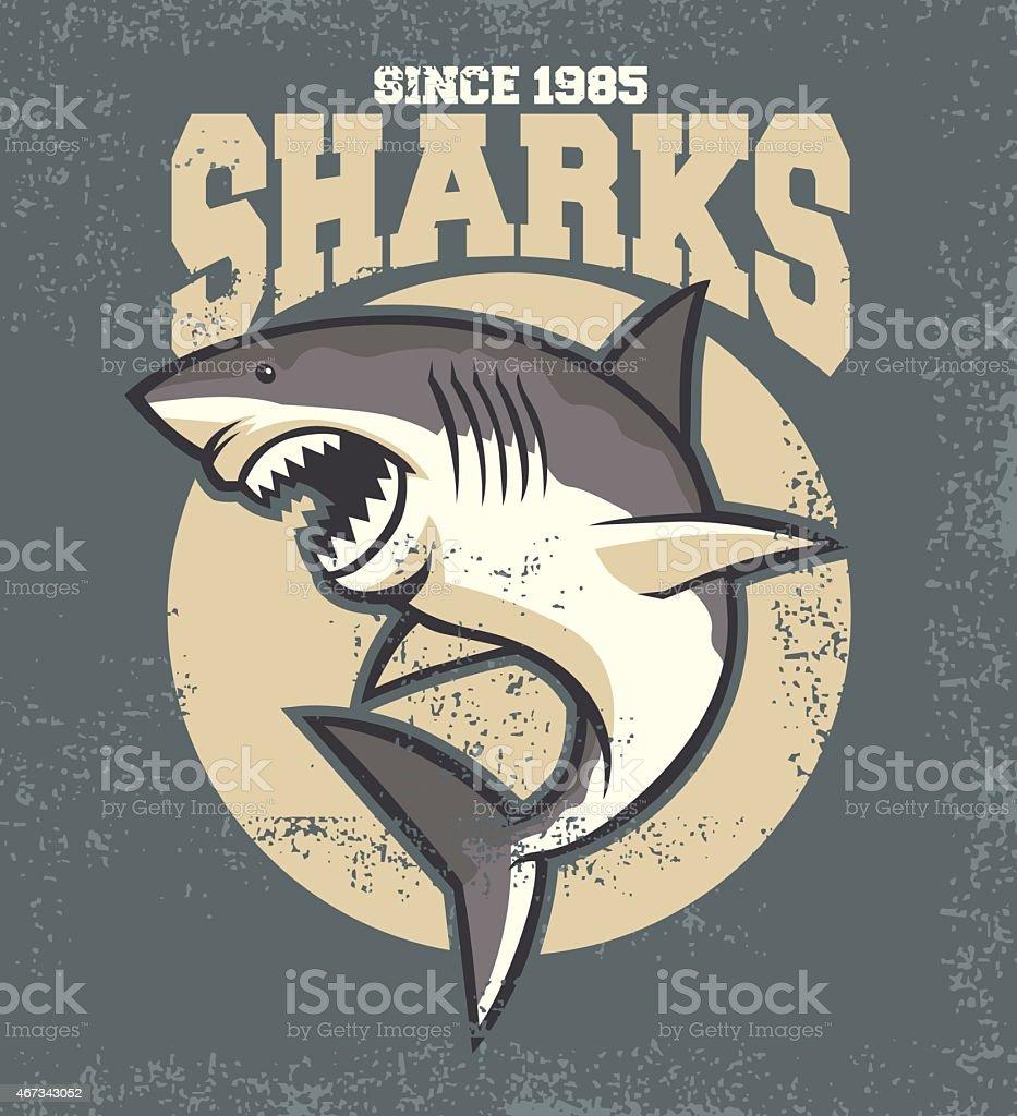 vintage shark mascot vector art illustration