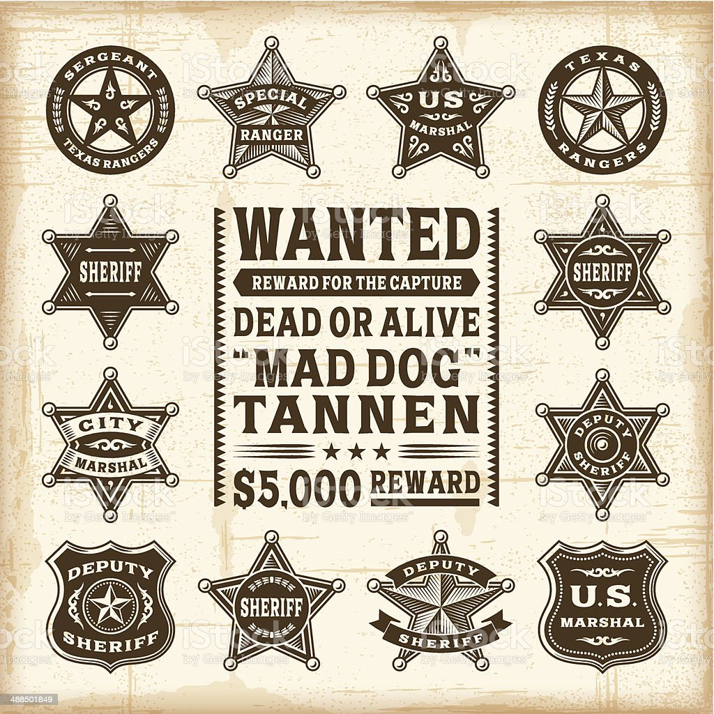 Vintage sheriff, marshal and ranger badges set vector art illustration