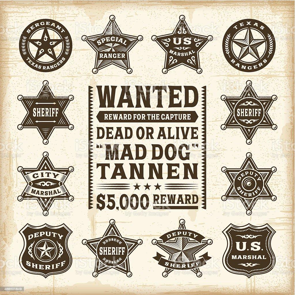 Vintage sheriff, marshal and ranger badges set vector art illustration