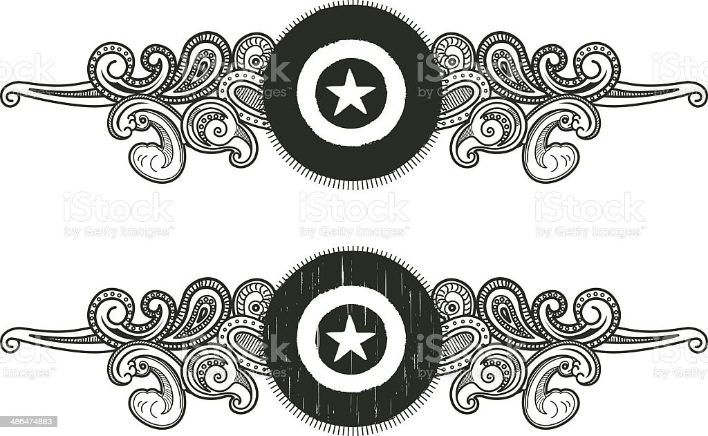 vintage shield with star shape royalty-free stock vector art