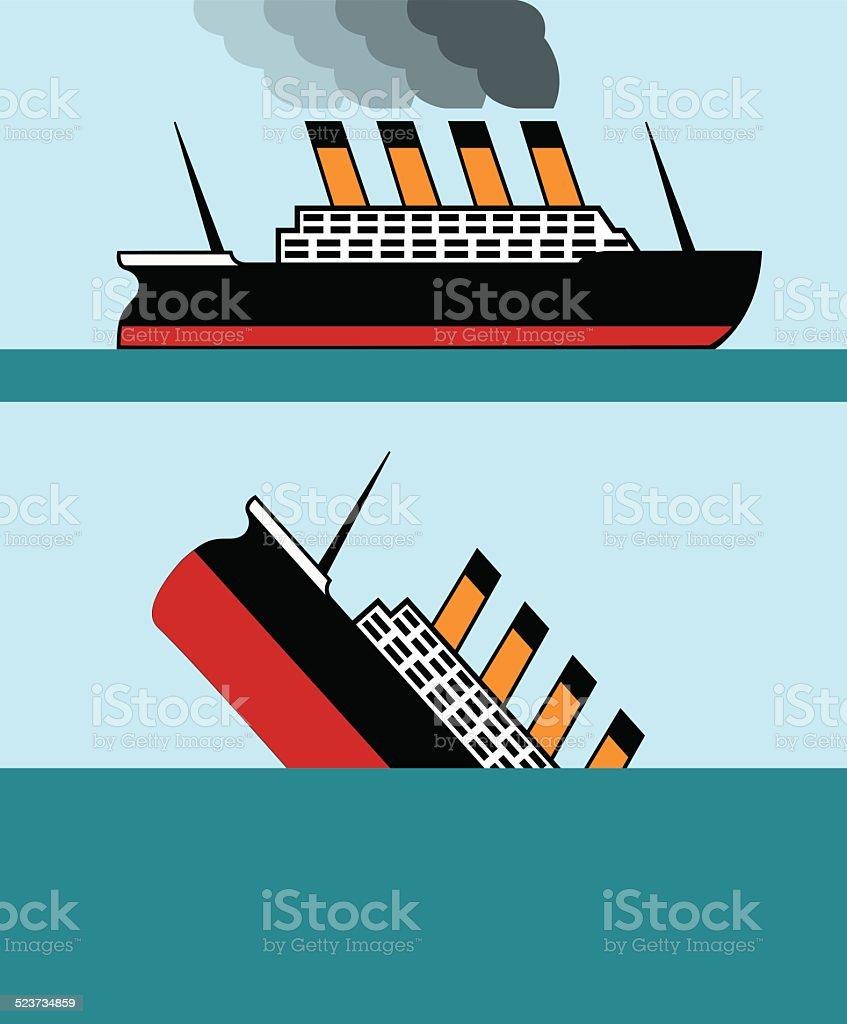 Vintage ship vector art illustration