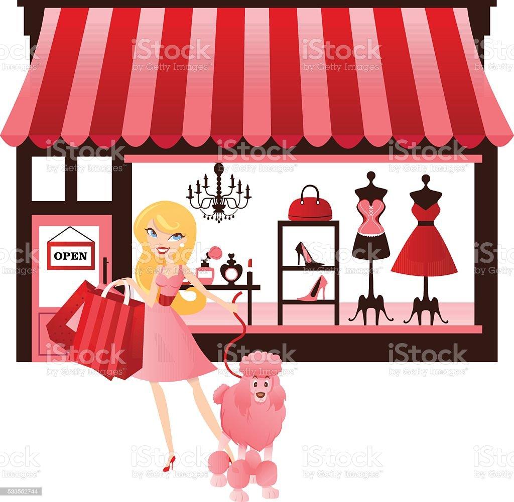 Vintage Shopping Girl vector art illustration