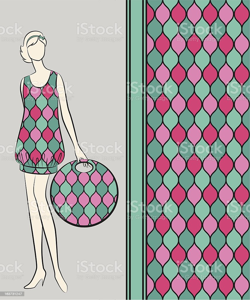 Vintage silhouette of girl with bag. Vector royalty-free stock vector art