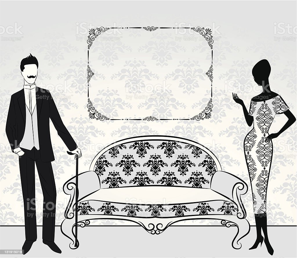 Vintage silhouette of girl with man. Vector royalty-free stock vector art