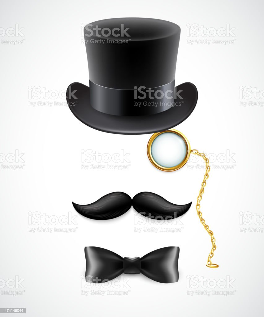 Vintage silhouette of top hat, mustaches, monocle and  bow tie vector art illustration