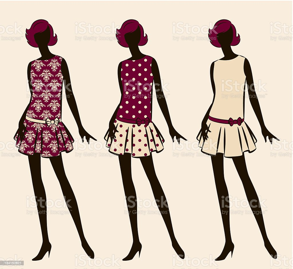 Vintage silhouettes of girls. Vector royalty-free stock vector art