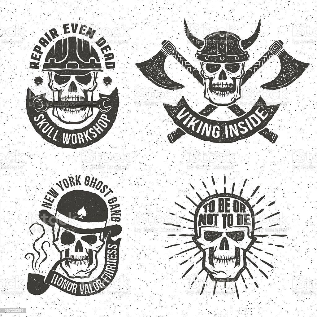 Vintage skull emblems vector art illustration