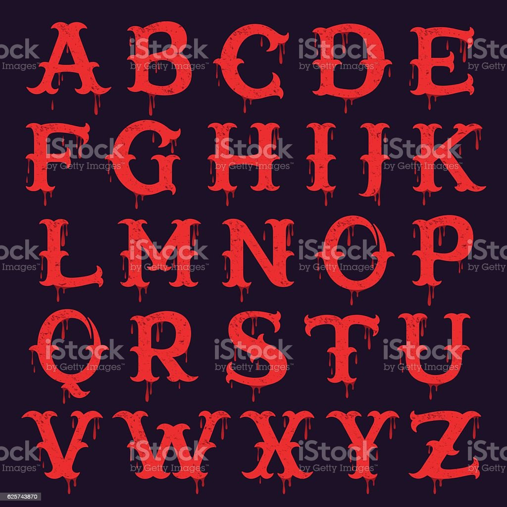 Vintage slab serif Alphabet with  blood splashes and grunge text vector art illustration