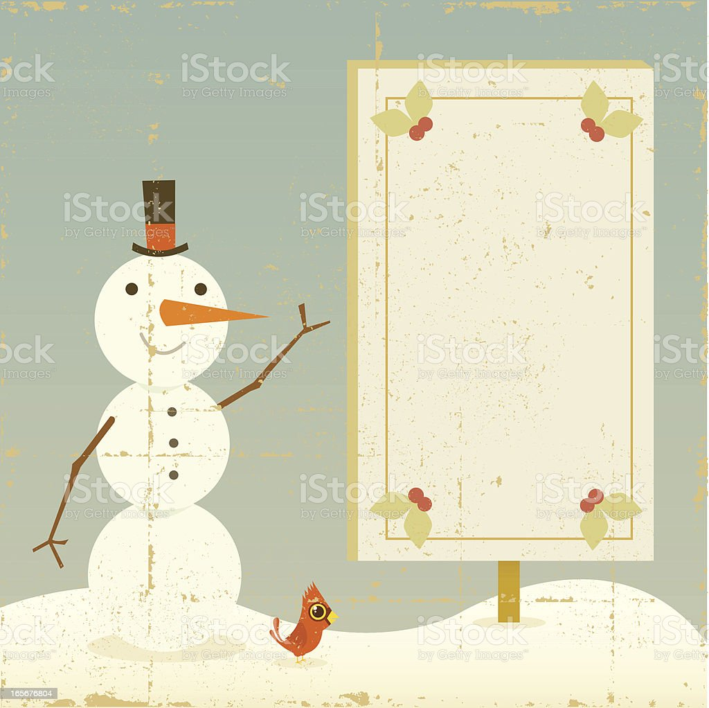 Vintage Snowman with Sign royalty-free stock vector art