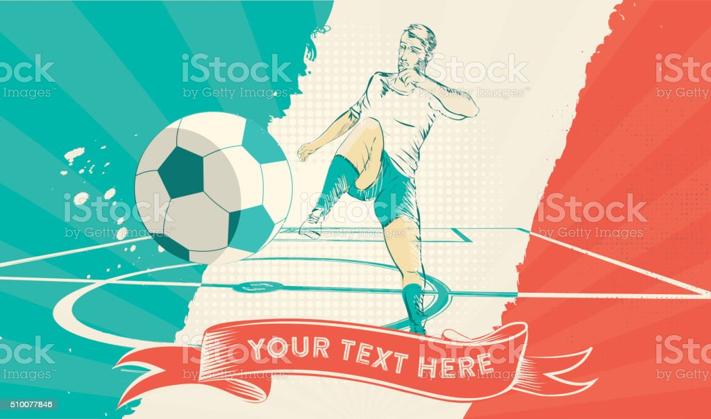 vintage soccer background with hand drawn france player stock photo