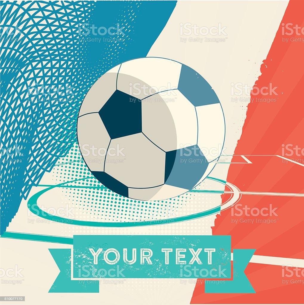 vintage soccer banner in france national colors vector art illustration