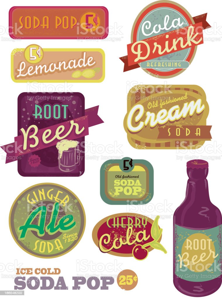 Vintage soda pop label set vector art illustration