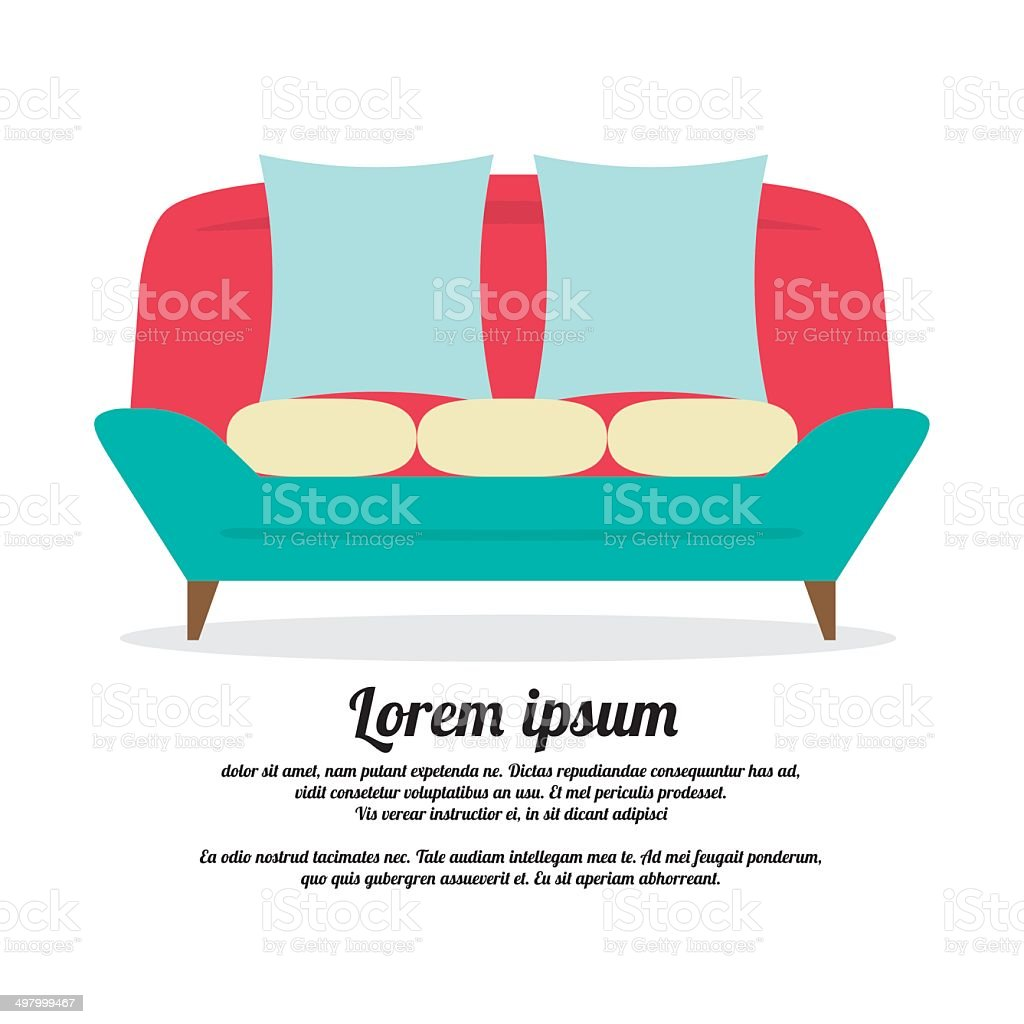 Vintage Sofa vector art illustration