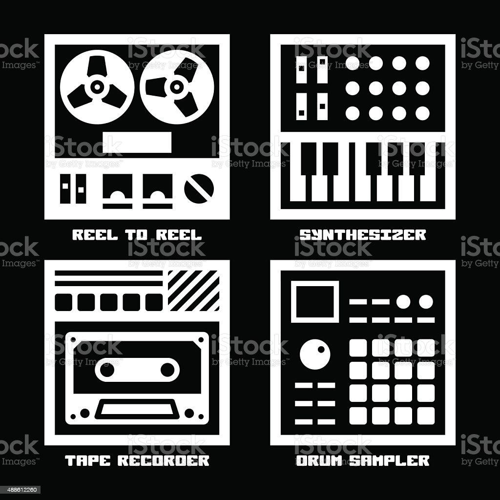 Vintage Sound Recording Music Equipment Icons Set. vector art illustration