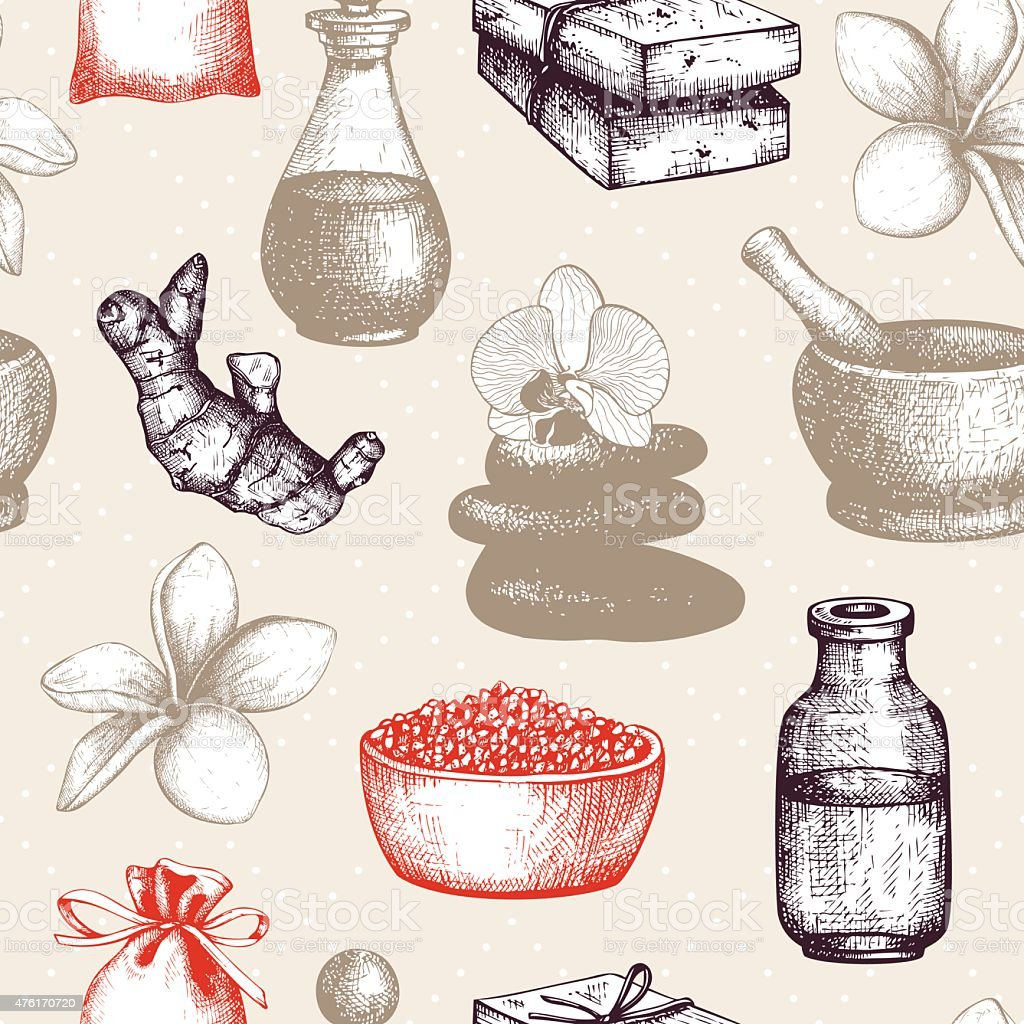 Vintage spa and natural cosmetics background vector art illustration
