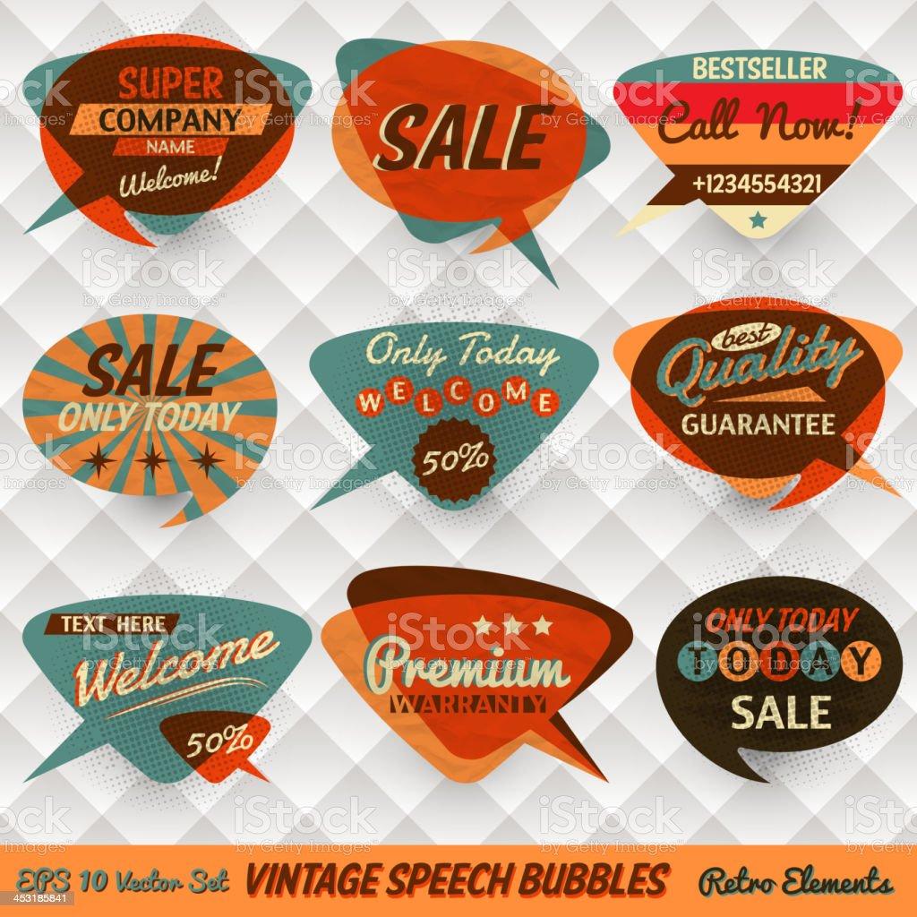 Vintage speech bubbles for shops vector art illustration