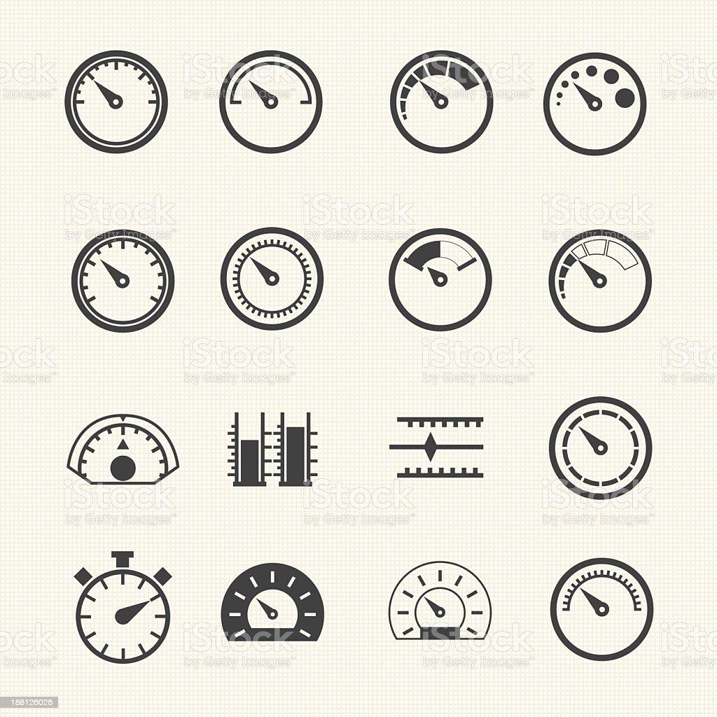 Vintage speedometers vector icons vector art illustration