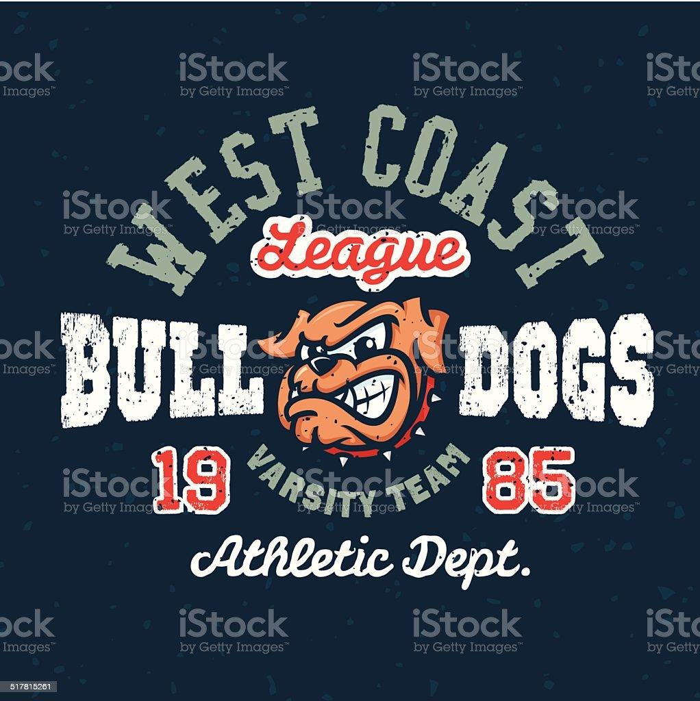 Vintage sport varsity apparel t-shirt design vector art illustration