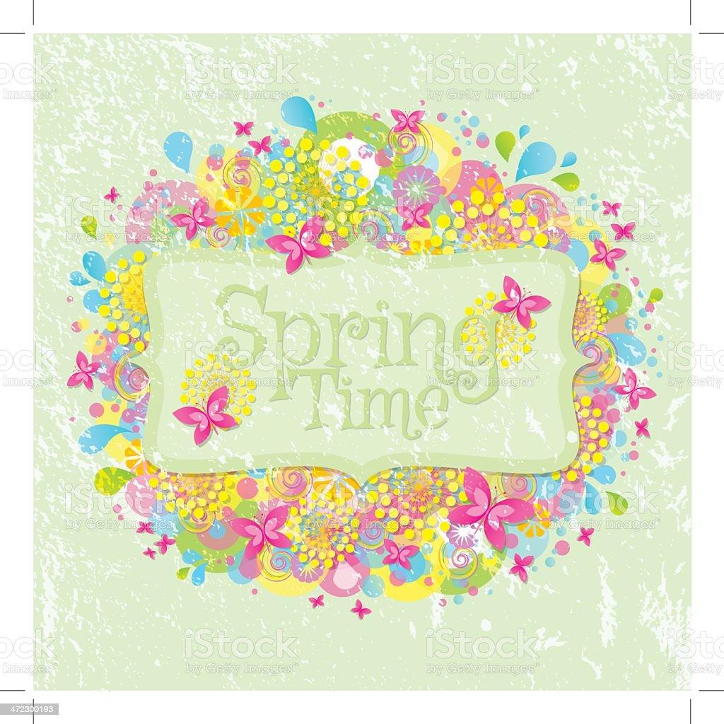 Vintage Spring Banner vector art illustration